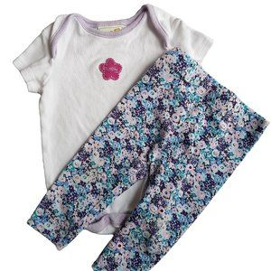 White Onesie with Stunning Floral Leggings 6-12m